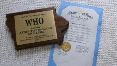 WHO-Pioneer-Radio-Station-Award